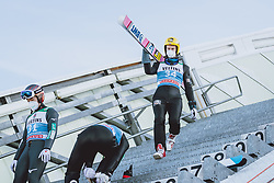 31.12.2020, Olympiaschanze, Garmisch Partenkirchen, GER, FIS Weltcup Skisprung, Vierschanzentournee, Garmisch Partenkirchen, Qualifikation, Herren, im Bild Junshiro Kobayashi (JPN), Evgeniy Klimov (RUS) // Junshiro Kobayashi of Japan Evgeniy Klimov of Russian Federation during qualification jump of men's Four Hills Tournament of FIS Ski Jumping World Cup at the Olympiaschanze in Garmisch Partenkirchen, Germany on 2020/12/31. EXPA Pictures © 2020, PhotoCredit: EXPA/ JFK