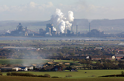 Corus Redcar steelworks; Hartlepool outskirts in foreground; Teesside UK
