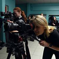 Meike Van Mechelen, Filmaker in Residence at Kerry County Council pictured recording a movie with students at Killarney Community College, Killarney this week.<br /> Photo: Don MacMonagle<br /> <br /> <br /> pr photo photo from Arts Office Kerry County Council.