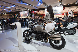 The Harley-Davidson display during EICMA, the largest international motorcycle exhibition in the world. Milan, Italy. November 20, 2015.  Photography ©2015 Michael Lichter.