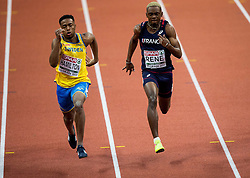 Austin Hamilton of Sweden, Marvin Rene of France compete in the 60m Men heats on day two of the 2017 European Athletics Indoor Championships at the Kombank Arena on March 4, 2017 in Belgrade, Serbia. Photo by Vid Ponikvar / Sportida