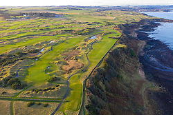 Aerial view of Fairmont St Andrews links golf course outside St Andrews in Fife, Scotland, UK
