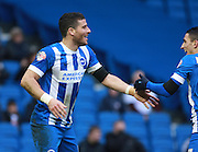 Brighton striker Tomer Hemed celebrates his goal with Brighton striker Anthony Knockaert during the Sky Bet Championship match between Brighton and Hove Albion and Bolton Wanderers at the American Express Community Stadium, Brighton and Hove, England on 13 February 2016. Photo by Bennett Dean.