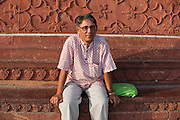 Brij Khandelwal, a renown environmental journalist for the Times of India, is sitting inside the Taj Mahal complex.