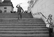 FERGUS HENDERSON , INTERCOURSE: Re-enacting Eisenstein: The Odessa Steps Sequence from Battleship Potemkin<br /> Jane and Louise Wilson directed the re-enactment on the steps outside the ICA. 26 November 2011.