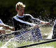 2003 - Rowing - 149th Varsity Boat Race - Tideway Week<br /> 31/03/03 Championship Course, River Thames, London.<br /> Oxford's blue boat passing Harrods Depository, morning training session. David Livingston, [Mandatory Credit; Peter Spurrier/Intersport Images]