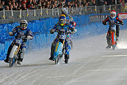 13.03.2016, Assen, BEL, FIM Eisspeedway Gladiators, Assen, im Bild Niklas Kallin Svensson (SWE), Guenter Bauer (GER), Rene Stellingwerf (NED) // during the Astana Expo FIM Ice Speedway Gladiators World Championship in Assen, Belgium on 2016/03/13. EXPA Pictures © 2016, PhotoCredit: EXPA/ Eibner-Pressefoto/ Stiefel<br /> <br /> *****ATTENTION - OUT of GER*****