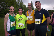 NO FEE PICTURES<br /> 28/5/16 John Moran, Sheila Gregan, Tony Gartland and Mike Keohane, Liver Transplant Ireland at the Irish Kidney Association's Run For Life in support of Organ Donation at Corkagh Park in Dublin. Pictures:Arthur Carron