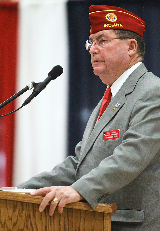 American Legion National Commander James E. Koutz addresses the audience during a Veterans Day program Tuesday at Centura High School. Koutz also stopped in St. Paul after presenting at Centura High School. (Independent/Matt Dixon)