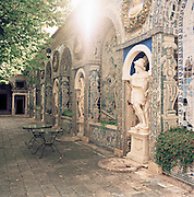 A garden with decorated statues at the Palácio dos Marqueses de Fronteira, Fronteira Palace, in Lisbon, Portugal