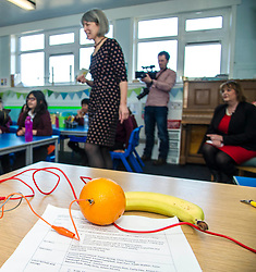 Pictured: Ms Hyslop listened attentativly as Frances Rive, Youth Music Initiative co-ordinator led the class in their latest lesson on sounds.<br /> <br /> Culture Secretary Fiona Hyslop MSP unveiled cash awards for Youth Music Initiative schemes which will help young people learn about and enjoy music. Ms Hyslop made the announcement when she joined schoolchildren at Longstone Primary School, Edinburgh today.<br /> <br /> <br /> Ger Harley | EEm 8 March 2018