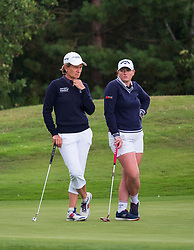 Gleneagles, Scotland, UK; 8 August, 2018.  European Championships 2018. Day one of golf competition at Gleneagles..Men's and Women's Team Championships Round Robin Group Stage - 1st Round. Four Ball Match Play format. Match 13 Great Britain 2 v Sweden 1 Ladies. Catriona Matthew and Holly Clyburn won 3 and 2. Pictured; Catriona Matthew and Holly Clyburn.