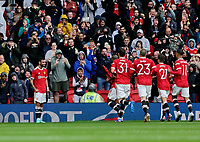 Football - 2021 / 2022 Pre-Season Friendly - Manchester United vs Everton - Old Trafford - Saturday 7th August 2021<br /> <br /> Bruno Fernandes of Manchester United awaits the congratulations of his team mates after scoring the third goal from a free kick, at Old Trafford.<br /> <br /> COLORSPORT/ALAN MARTIN