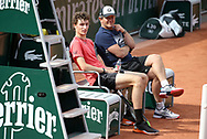 Ugo Humbert of France and his coach Nicolas Copin during practice ahead of the French Open 2021, a Grand Slam tennis tournament at Roland-Garros stadium on May 29, 2021 in Paris, France - Photo Jean Catuffe / ProSportsImages / DPPI