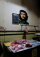 HAVANA, CUBA - CIRCA JANUARY 2020: Butcher shop in  Havana.