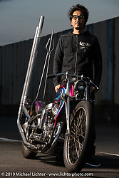 Tatsutya Fujii with a survivor Harley-Davidson Panhead he has restored - rebuilt at his Duas Caras Cycles in Nagoya, Japan. Wednesday, December 5, 2018. Photography ©2018 Michael Lichter.