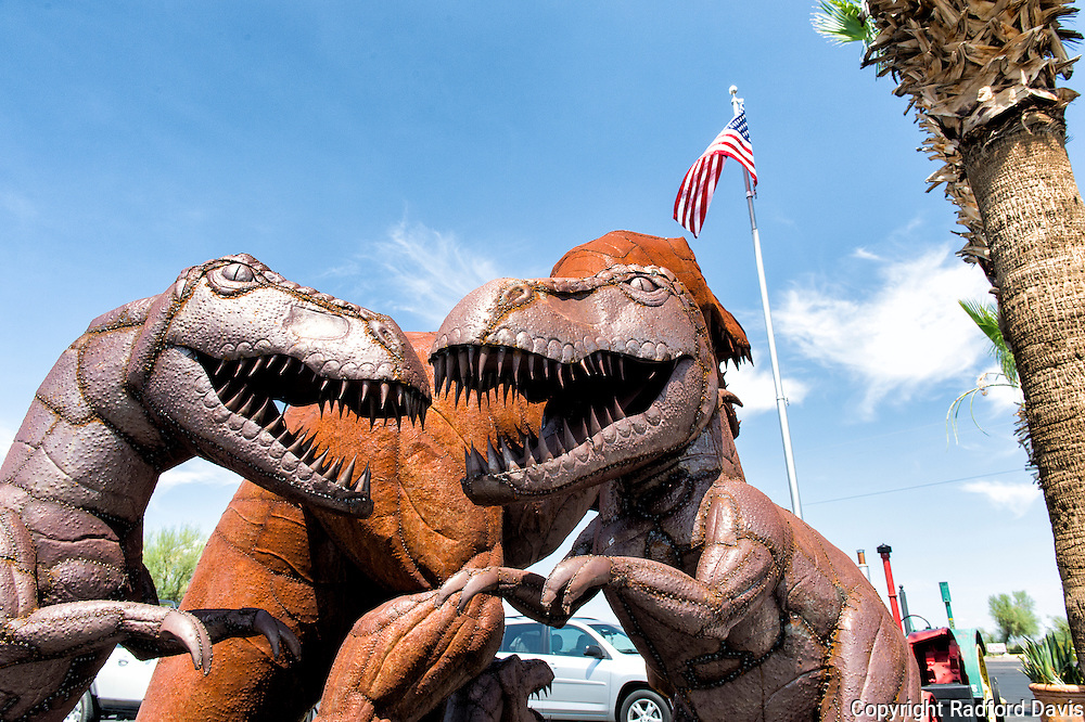 Dinosaurs at a gas station off the interstate in Arizona.