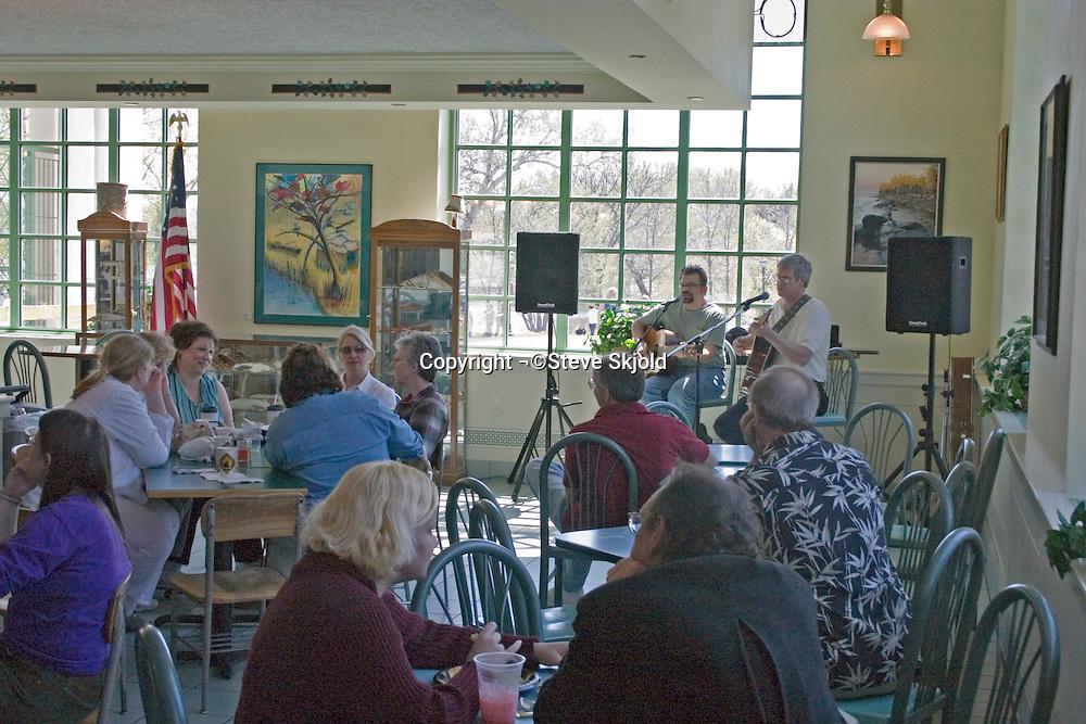 Musicians performing in a restaurant. Como Park Lakeside Pavilion St Paul Minnesota USA