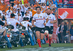 Francois Venter(C) of the Free State Cheetahs entering the field during the Currie Cup Final between the The Free State Cheetahs and Blue Bulls held at Toyota Stadium (Free State Stadium), Bloemfontein, South Africa on the 22nd October 2016<br /> <br /> Photo by:   Frikkie Kapp / Real Time Images