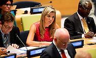 NEW YORK - Koningin Máxima neemt deel aan een VN- bijeenkomst over de aanpak van klimaatverandering. Actie op dit gebied is een van de zeventien nieuwe duurzame ontwikkelingsdoelen die de VN-lidstaten hebben aangenomen.