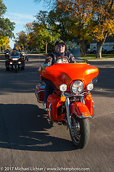 Scott Hanlon, Mayor of Grotten, SD riding his 2012 Harley-Davidson Ultra Classic Limited on the USS South Dakota submarine flag relay across South Dakota. Groton, SD. USA. Sunday October 8, 2017. Photography ©2017 Michael Lichter.