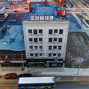Midwest Hotel structure in Crossroads District area of Kansas City, Missouri at 20th & Main; view from above in evening.