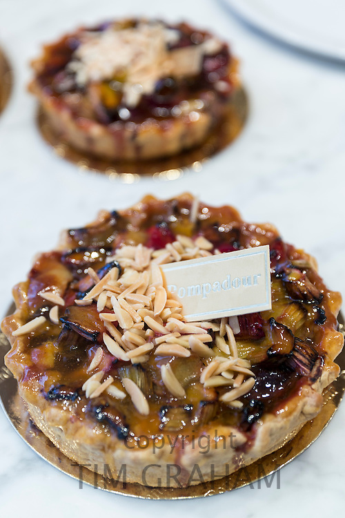 Fruit tart cakes at Pompadour in Huidenstraat in the Nine Streets shopping district, Amsterdam