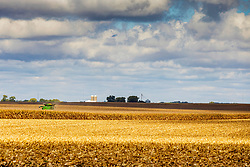 A large farm implement called a combine harvests the corn crop from a field in central Illionis