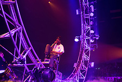 February 4, 2019 - San Diego, California, U.S - Rapper Travis Scott rides a looping roller coaster as he performs during his Astroworld: Wish You Were Here Tour at the Pechenga Arena in San Diego. (Credit Image: © KC Alfred/ZUMA Wire)