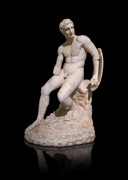 1st century AD Roman marble sculpture of a seated male, copied from a  Hellanistic Greek original,  inv 6323, Farnese Collection, Museum of Archaeology, Italy ..<br /> <br /> If you prefer to buy from our ALAMY STOCK LIBRARY page at https://www.alamy.com/portfolio/paul-williams-funkystock/greco-roman-sculptures.html . Type -    Naples    - into LOWER SEARCH WITHIN GALLERY box - Refine search by adding a subject, place, background colour, etc.<br /> <br /> Visit our ROMAN WORLD PHOTO COLLECTIONS for more photos to download or buy as wall art prints https://funkystock.photoshelter.com/gallery-collection/The-Romans-Art-Artefacts-Antiquities-Historic-Sites-Pictures-Images/C0000r2uLJJo9_s0