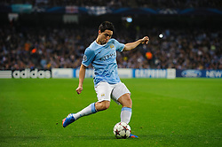 Man City Midfielder Samir Nasri (FRA) in action during the first half of the match - Photo mandatory by-line: Rogan Thomson/JMP - Tel: Mobile: 07966 386802 - 02/10/2013 - SPORT - FOOTBALL - Etihad Stadium, Manchester - Manchester City v Bayern Munich - UEFA Champions League Group D.