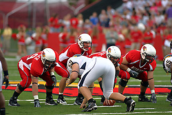 08 September 2007: Luke Drone calls out an audible from under center Jonathan St.-Pierre. The Murray State Racers were defeated by the Illinois State Redbirds 43-17 in a nightcap at Hancock Stadium on the campus of Illinois State University in Normal Illinois.