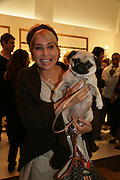 BRIX SMITH-START AND HER PUG PIXIE, Gas new concept Flagship store opening. Duke of York Sq. London. 9 May 2007.  -DO NOT ARCHIVE-© Copyright Photograph by Dafydd Jones. 248 Clapham Rd. London SW9 0PZ. Tel 0207 820 0771. www.dafjones.com.