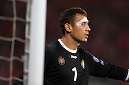 Illie Cebanu ,the Moldova goalkeeper looks on.Wales v Moldova , FIFA World Cup qualifier at the Cardiff city Stadium in Cardiff on Monday 5th Sept 2016. pic by Andrew Orchard, Andrew Orchard sports photography