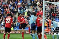 Cardiff city's Matthew Connolly ©  scores the opening goal with a header . NPower Championship, Cardiff city v Middlesbrough at the Cardiff city stadium in Cardiff in South Wales on Saturday 17th November 2012.  pic by Andrew Orchard, Andrew Orchard sports photography,