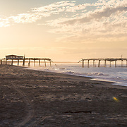 HATTERAS ISLAND, NC - AUGUST 2:  The beach sits empty of a warm sunny morning on Hatteras Island on August 2, 2017. Nearly a week earlier a construction company building a new bridge over Oregon Inlet accidentally cut a buried cable cutting off electricity to the area. (Photo by Logan Cyrus for The Washington Post)