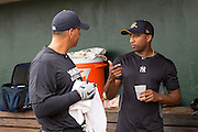 New York Yankees Alex Rodriguez speaks to teammate Eduardo Nunez before appearing in the first game since hip surgery with the minor league Charleston RiverDogs at Joseph P. Riley Jr. Stadium July 2, 2013 in Charleston, South Carolina.