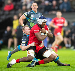 Joel Kpoku of Saracens is tackled by  Luke Price of Ospreys<br /> <br /> Photographer Simon King/Replay Images<br /> <br /> European Rugby Champions Cup Round 5 - Ospreys v Saracens - Saturday 11th January 2020 - Liberty Stadium - Swansea<br /> <br /> World Copyright © Replay Images . All rights reserved. info@replayimages.co.uk - http://replayimages.co.uk