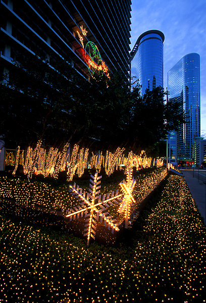 Lights sparkle in downtown Houston during the holidays.
