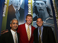 28 August 2006: 2006 Hall of Fame inductee Alexi Lalas (center) with his presenter Sunil Gulati (l) and agent Richard Motzkin (r). The National Soccer Hall of Fame Induction Ceremony was held at the National Soccer Hall of Fame in Oneonta, New York.