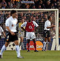 Photo. Javier Garcia<br />19/03/2003 Valencia v Arsenal, Champions League second phase, Estadio Mestalla<br />Sol Campbell is stunned as John Carew celebrates after making it 2-1 to Valencia