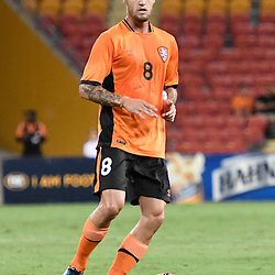 BRISBANE, AUSTRALIA - JANUARY 31: Jacob Pepper of the Roar passes the ball during the second qualifying round of the Asian Champions League match between the Brisbane Roar and Global FC at Suncorp Stadium on January 31, 2017 in Brisbane, Australia. (Photo by Patrick Kearney/Brisbane Roar)