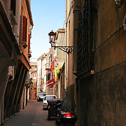 Typical narrow street of Italian town (Chioggia)