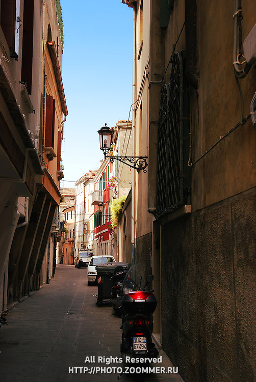 Typical narrow street of Italian town (Chioggia)