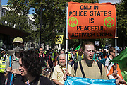 Environmental activists from Extinction Rebellion take part in the third day of Impossible Rebellion protests on 25th August 2021 in London, United Kingdom. Extinction Rebellion are calling on the UK government to cease all new fossil fuel investment with immediate effect.