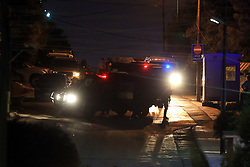 July 23, 2017 - Amman, Jordan - Jordanian security personnel secure the Israeli embassy after a Jordanian teen was killed and an Israeli staffer at the embassy was critically injured in a brawl inside the embassy on Sunday, Al Ghad daily newspaper reported. (Credit Image: © Mohammad Abu Ghosh/Xinhua via ZUMA Wire)
