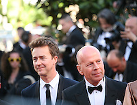 Actors Edward Norton and Bruce Willis at the gala screening of the film Moonrise Kingdom at the 65th Cannes Film Festival. Wednesday 16th May 2012, the red carpet at Palais Des Festivals in Cannes, France.