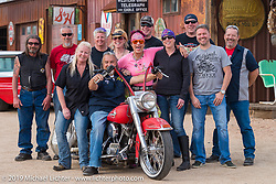 Group photo at Craig Gacom's Rusty Ranch on Thursday of Arizona Bike Week 2014. USA. April 4, 2014.  Photography ©2014 Michael Lichter.