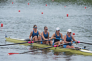 Poznan, POLAND, 21st June 2019, Friday, Morning Heats, USA2 W4-  (b) SONSHINE Elizabeth, (2)THOENNES Jessica, (3)SALMONS Regina and (s)PIERSON Brooke, FISA World Rowing Cup II, Malta Lake Course, © Peter SPURRIER/Intersport Images,