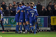 AFC Wimbledon midfielder Callum Reilly (33) celebrating after scoring goal to make it 2-2 during the EFL Sky Bet League 1 match between AFC Wimbledon and Burton Albion at the Cherry Red Records Stadium, Kingston, England on 28 January 2020.